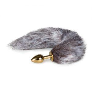 Kleine goudkleurige buttplug met bruin/witte vossenstaart-2